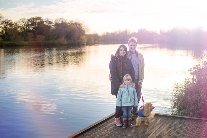 Autumn family portrait shoot by the lake.