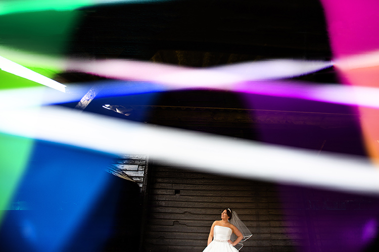 Bride posing at Over Barn.