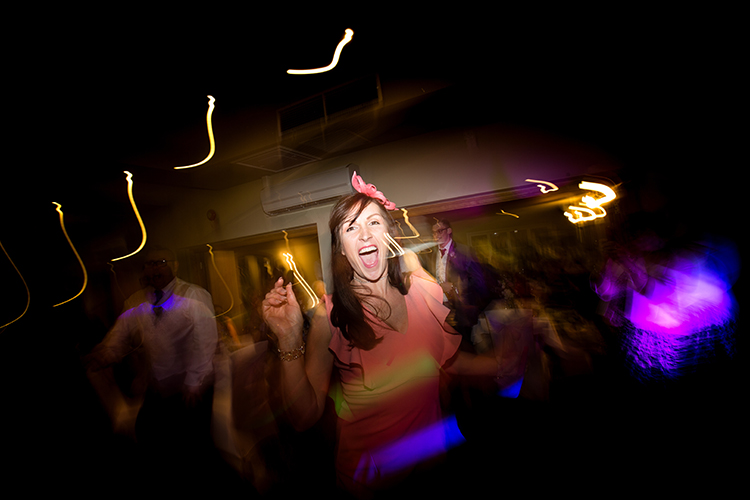 Wedding guest dancing.
