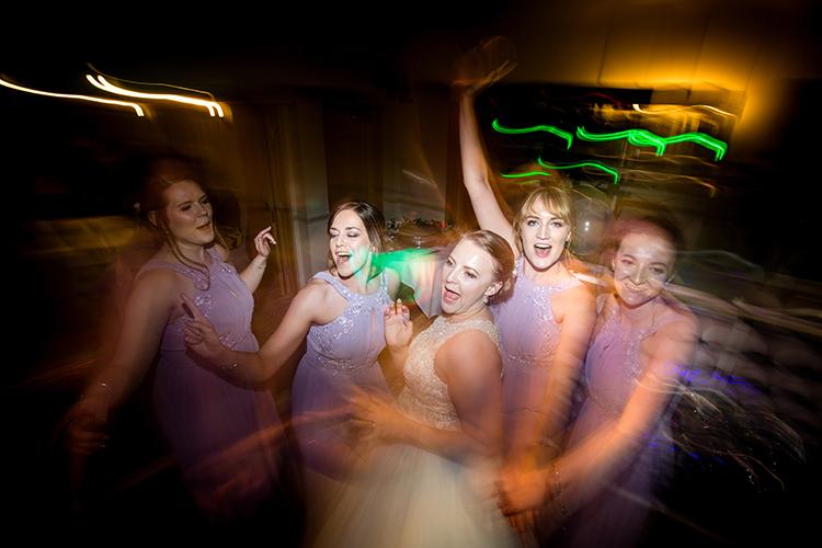 The Bridesmaids dancing.