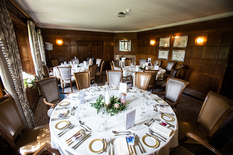 Mallory Court set up for wedding breakfast.