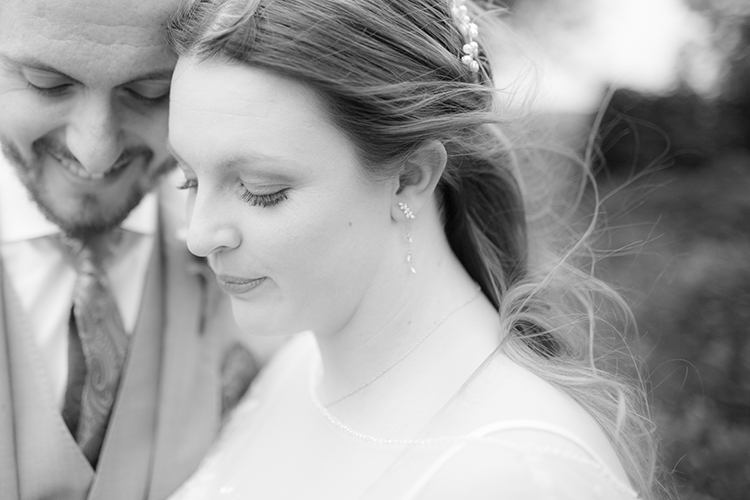 Close up of the bride and groom