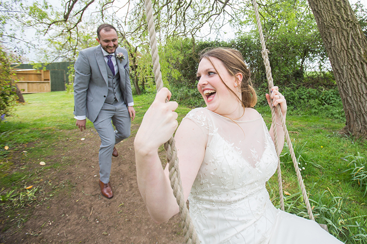 Bride on the swing at Bordesley Park
