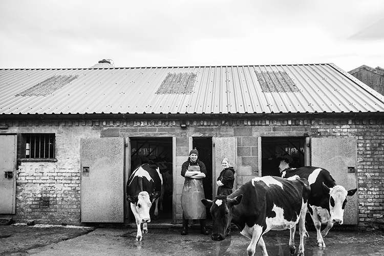 Farmers outside Milking Palour
