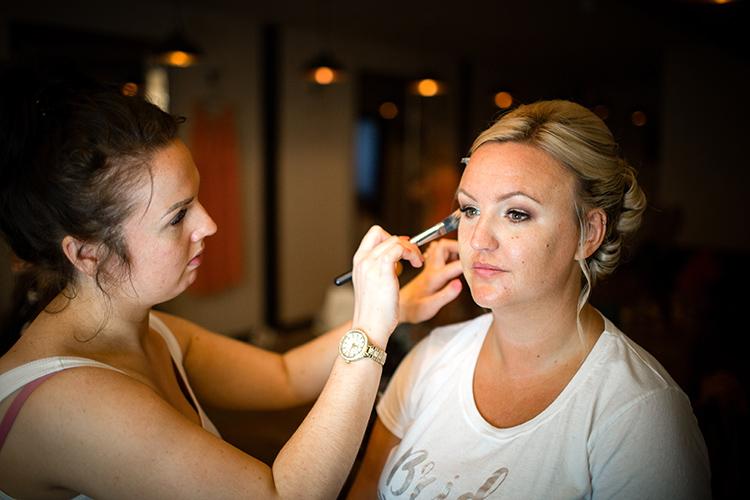 Bruide having her makeup done