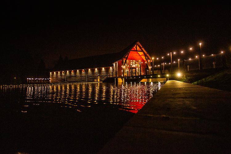 The Mill Barns at night.