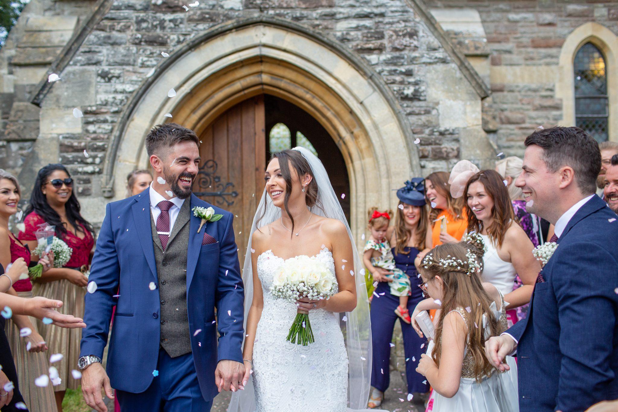 Bride and Groom confetti shot.