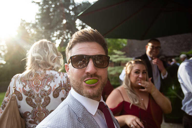 Guest with lime in his mouth.
