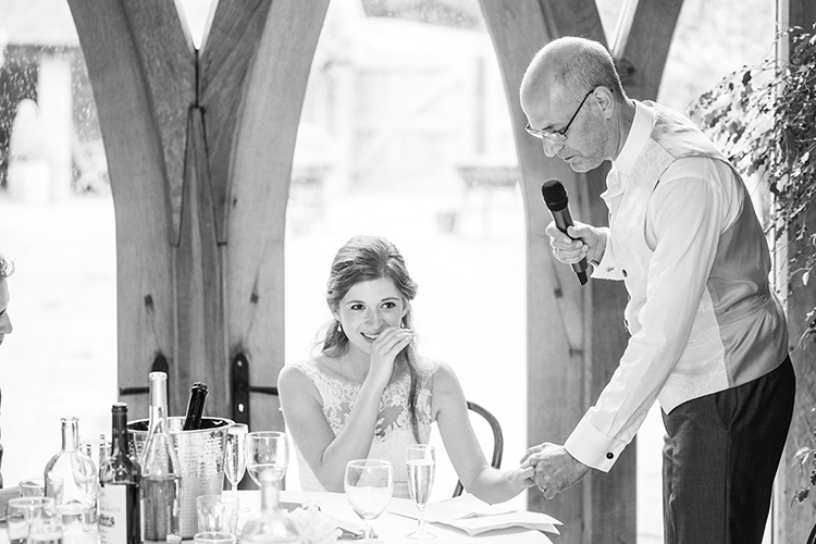 Bride crying while dad gives speech