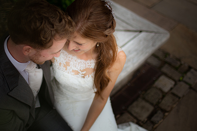 Close up of Bride and Groom from above