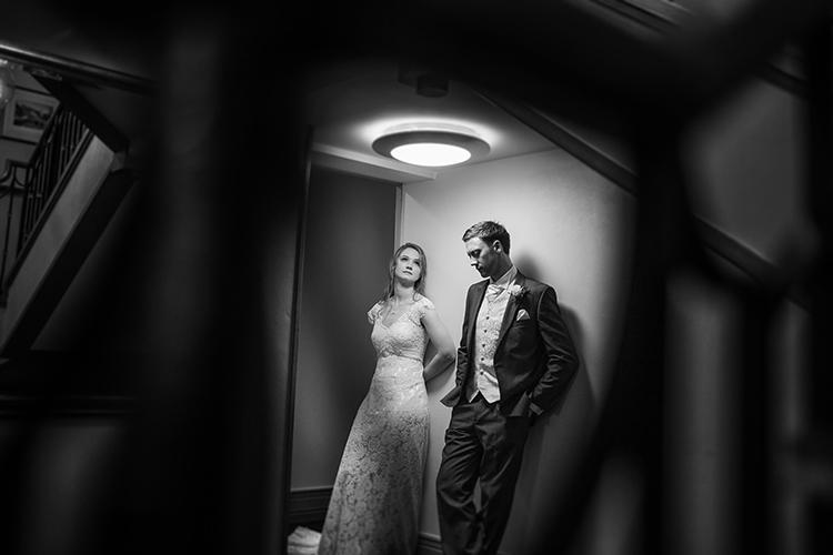 Bride and Groom in corridoor.