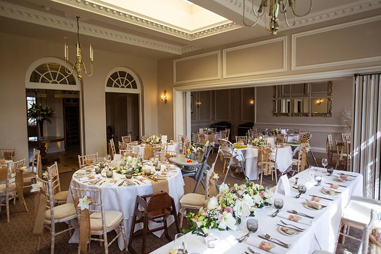 Brockencote Hall set up for wedding breakfast.