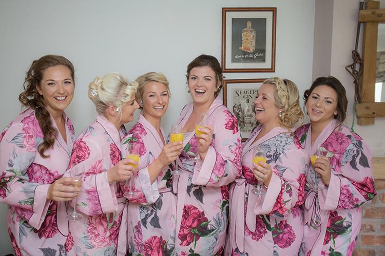 Bride and bridesmaids group shot