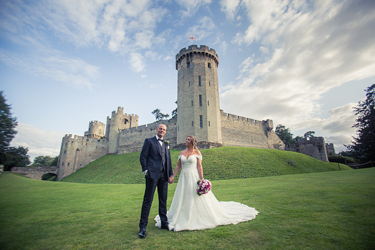Bride and Groom outside Warwick Castle