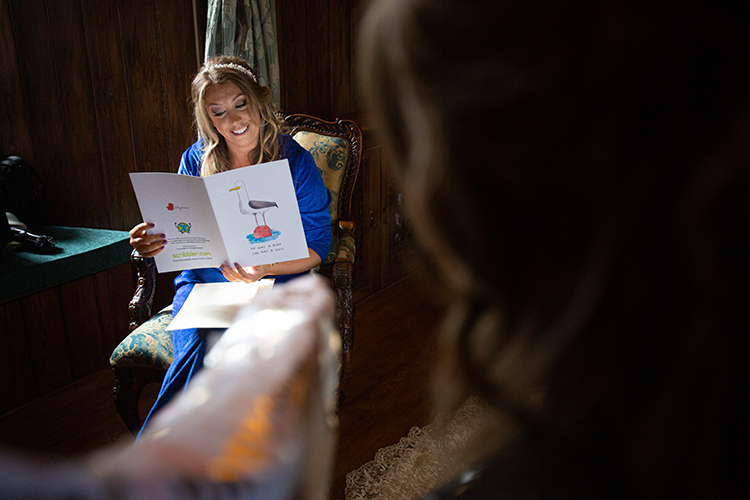 Bride reading card